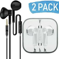 2-Pack In-Ear Premium Earphones/Earbuds/Headphones with Stereo Mic & Remote
