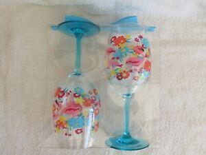Tropix Set of 2 Acrylic Wine Glasses - FLAMINGO and Hibiscus