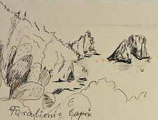 E. E. Deutsch Krone 1910-c.2000 Stiftzeichnung: FARAGLIONI CAPRI Berge der Insel