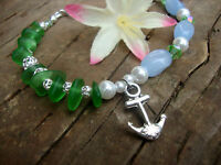 Green Sea Glass Anchor Beaded Bracelet Beach Boho Beach Nautical Resort