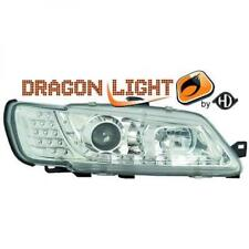 LHD Projector Headlights Pair LED Dragon Clear Chrome For Peugeot 306 II 97-01