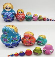 10 in 1 Traditional Wooden Russian Nesting Dolls Matryoshka Babushka Gift Toy US