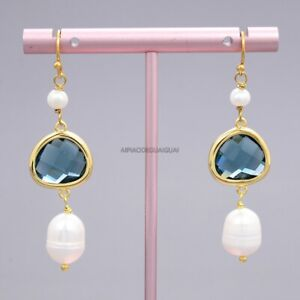 Natural White Rice Pearl Colorful Blue Crystal Gold Plated Hook Earrings