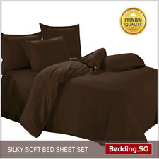 Bedsheet Set fitted Brown Colour - Super Single size