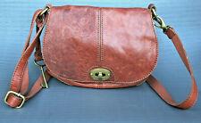 FOSSIL – Red Brown Leather Key Shoulder Bag Handbag Organizer Tote Purse w/Strap