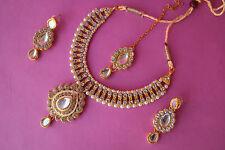 DESIGNER ETHNIC INDIAN BOLLYWOOD GOLD TONE BRIDAL JEWELRY FASHION NECKLACE SET