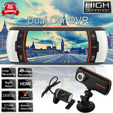 "2.7"" Dual Lens Car Vehicle 1080P HD Dash Camera DVR Cam Night Vision Recorder UK"
