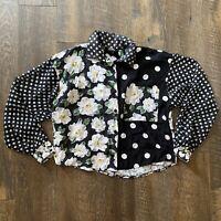 Vintage Judy Knapp Mixed Print Cottagecore Button Up Long Sleeve Blouse Sz. S