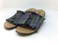 Minnetonka Womens Samara Fabric Open Toe Casual Slide, Black/ Rainbow, Size 9.0
