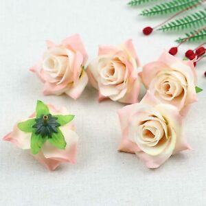 Fake Rose Artificial Silk Flower Heads Craft Wedding Decor 20-100X(Champagne)