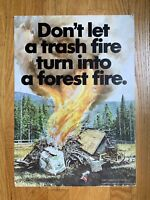 Vtg Smokey Bear Fire Prevention Poster Don't Let A Trash Fire Turn Into A Forest