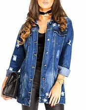Womens Stonewash Blue Longline Distressed Denim Jacket (RRP £49.99)