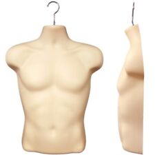 Mn-187 2 Pc Flesh Male Hanging Torso T-Shirt Form w/ Metal Hook