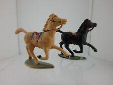 Pair of Vintage Charbens Galloping Western Horses 1950-60s 1 Palomino & 1 Black