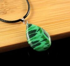 Malachite Gemstone Tear Drop Pendant on a Black Waxed Cord Necklace #1127