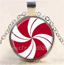 Peppermint Swirl Stripe Candy Cabochon Glass Tibet Silver Chain Necklace