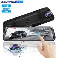 "AZDOME 10"" HD 1080P Dual Lens Car Dash Cam Recorder Mirror Touching Night Vision"