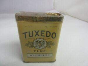 VINTAGE ADVERTISING TUXEDO ALLSPICE   SPICE TIN   M-366