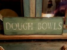 Ex Lg Sage Green Wood Sign Folk Art Decor Dough Bowls Country Primitive Rustic