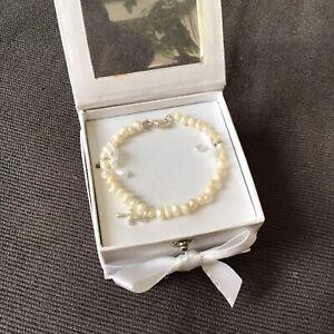 Mudpie  Infant Fresh Water Pearl Bracelet With Cross
