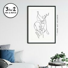 Faces of Couple in Love Single Line Drawing, Abstract Romantic Giclee Art Print