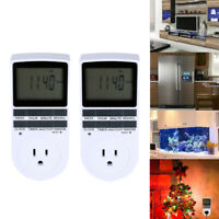 2Pack 7 Day Heavy Duty Digital Electric Programmable Outlet Plug In Timer Switch