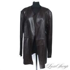 INCREDIBLE Lafayette 148 Brn Leather Alligator Crocodile Print Buttonless Coat 8