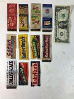Lot of 11 Vintage Matchbox Covers featuring Candy and Gum Product Ads