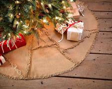 "Burlap Natural Reverse Seam 48"" Christmas Tree Skirt by VHC Brands"
