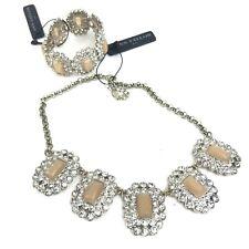 NWT ANN TAYLOR Rhinestone Statement Necklace Bracelet Sparkly Gold Retail $80