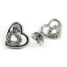 Plated Heart Stud Earrings (Fe424) Fashion Jewelry - 18k White Gold