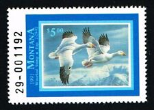 CKSTAMPS : 1991 US Montana State Ducks Hunting Stamps $5.00, Mint NH OG VF