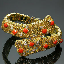 Impressive Vintage Oxblood Coral Diamond 18k Yellow Gold Bracelet