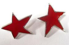 SoHo Ohrstecker roter Stern silber Kunstharz rot retro resin Kaltemail rot opak