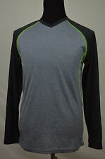 RBX NWT MENS GRAY & GREEN PERFORMANCE X-DRI LONG SLEEVE V-NECK SHIRT SMALL $54
