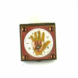 "Copper Metal Handmade Trinket Box 1.5"" Clock Watch Heart Hand Steampunk Vintage"