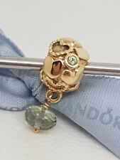 Authentic Pandora 14ct Gold Green Amethyst & Sapphire Charm 750354GAM
