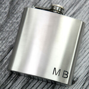 Personalised Hip Flask Initials Monogram Birthday Gift wedding Best Man Usher