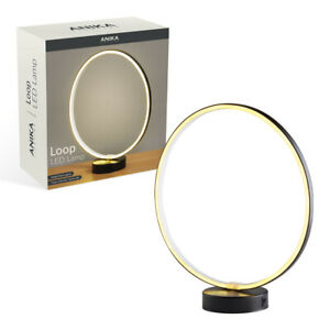 Circle Loop LED Light Table Lamp Bedside Desk Warm White Battery Operated Decor