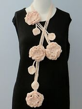 New Handmade Crochet Pink Flower Scarf Necklace Lariat