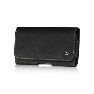 Black Horizontal Leather Belt Clip Loop Pouch Holster Phone Holder For Phones