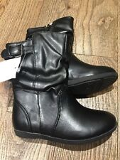 Nwt SMARTFIT Toddler Girl 8 1/2 Black Slouch Zipper Boots Holidays Party Winter