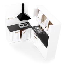 Dollhouse Miniature Furniture Wooden Kitchen Stove Sink Cabinet Cupboard Set