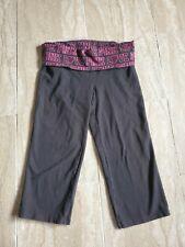 Victorias Secret PINK Yoga Crop Pants Black Love Pink Hearts Ringtones Sz Large