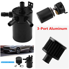 3-Port Billet Aluminum Baffled Oil Catch Can Tank Reservoir Oil Separator+Filter