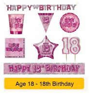AGE 18 - Happy 18th Birthday PINK GLITZ - Party Banners, Balloons & Decorations