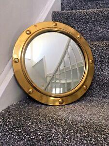 "VINTAGE 10.5"" BRASS PORTHOLE CONVEX WALL MIRROR NAUTICAL SHIP SEA SIDE MARITIME"