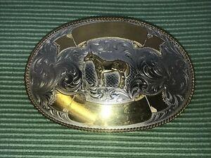 Large Montana Silversmith HorseBelt Buckle Cowboy Western Engravable Nickel