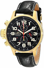 Invicta Reloj Oro Gold Crystal Leather Watch Hombre Left Hand Lefty Steel Man