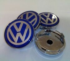 4pcs 60mm Blue Alloy Wheel Center Caps Emblem for VW Volkswagen Golf Passat Bora